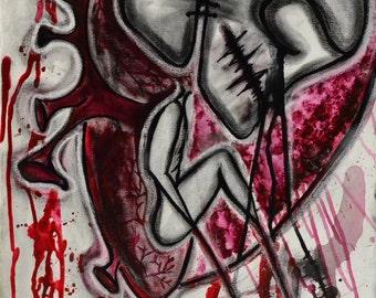 skull painting - Dark art - punk art - outsider art-skull - raw art - original painting - trash art