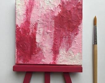 Original Art, Miniature Art, Mini Painting, Abstract Painting, Abstract Art, Pink & White Art, Original Painting, Round Art