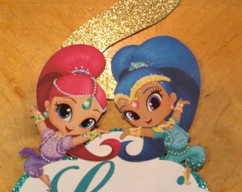 Shimmer and Shine Personalized Cake Topper