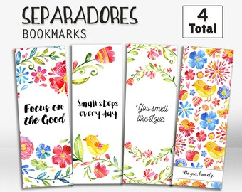 Bookmarks in spanish, printable bookmarks, bookmarks with quotes, en español, in spanish, printables, cute bookmarks, gift ideas, set of