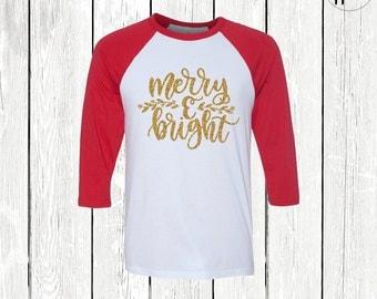 Merry & Bright Christmas Raglan Tshirt, Womens Christmas Tshirt