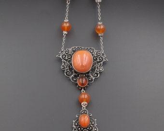 Art Nouveau Sterling Necklace, Art Nouveau Jewelry, 1900's Necklace, Sterling Carnelian Necklace, Opera Length Necklace