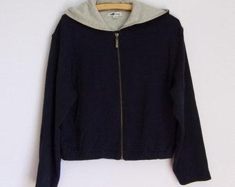 Vintage 90s Dark Blue Jacket / Hooded Jackett /Cotton Jacket / Autumn Hipster Jacket/Medium Large