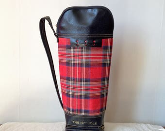Vintage Golf Bag - Vintage Thermos Holder - Tartan Golfing Gift - Tartan Drinks Holder - Vintage Picnic Bag - Gift for Golfer - Bottle Bag