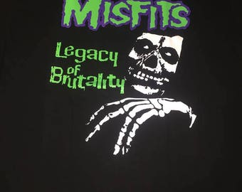 The Misfits Legacy Of Brutality Green Letters Fiend Logo Shirt
