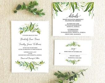Greenery Wedding Invitation Suite Printable-Wedding Invitation, Detail Card, RSVP Card Printable-Wedding Invitation Suite Bundle Printable