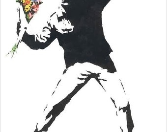 LARGE Banksy Print / Banksy Poster / Banksy Rage The Flower Thrower / Banksy Throwing Flowers / Banksy Art / Rage Throwing Flowers