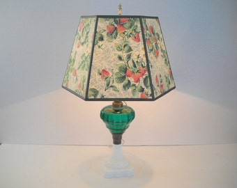 Green Glass Lamp with a Marble Base and Matching Shade