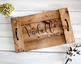 Wood Serving Tray, Custom Wood Tray, Personalized Serving Tray, Rustic Serving Tray, Rustic Wedding Gift, Anniversary Gift, Monogrammed Tray