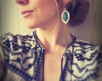 Turqouise earrings,Tibetan earrings,boho jewelry,mystic earrings,gypsy earrings,ethnic earrings,tear drop jewelry,Aztec tribal earrings