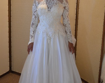 Long Sleeve Ballgown with Lace Sleeves and Choker Neckline