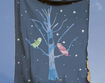 Baby Blanket - Owl Play Mat - Baby Shower Gift - Owl Minky Blanket - Play Rug