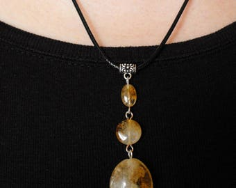 Citrine Gemstone Drop Pendant Cord Necklace