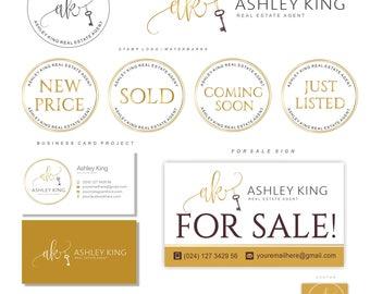 Realtor logo, Key logo, Real Estate logo design, Branding set, Luxe Branding kit, Watermark, Circle Gold logo initials, Business card 92