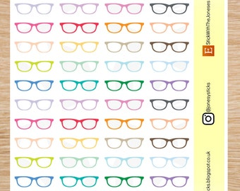 MINI glasses, spectacles, reading, optician, eye doctor, rainbow, stickers, Compatible with Erin Condren, Happy Planner, Filofax, Personal