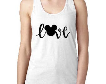 Love Mickey Shirt, Disney Mickey Love womens shirt, Disney Tank, Custom Disney Shirt, Disney  Racerback Tank, Disney Vacation Tank