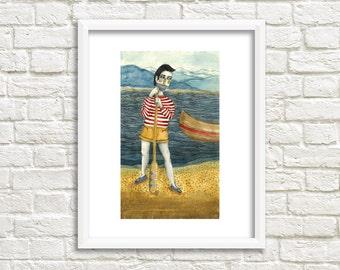 Canoe Man Illustration, Art Print