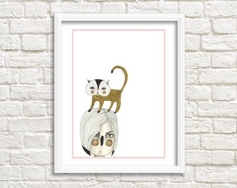 Cat on Head Illustration, Art Print