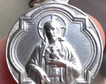 Vintage Sacred Heart of Jesus and Our Lady of Mount Carmel Mid 20th Century Solid Silver Pendant