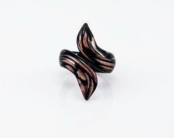 Snake Ring Black with Venturina stone