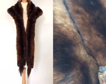 Vintage/antique large sable/marten real fur taxidermy brown-black stole/cape/wrap. Edwardian/1920s/1930s