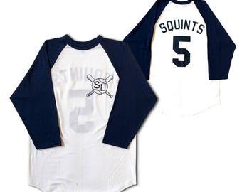 Squints Baseball Shirt # 5 Jersey As Worn In The Sandlot Movie Michael Palledorous Wendy Peffercorn SL Player Costume Sand Lot Adult White