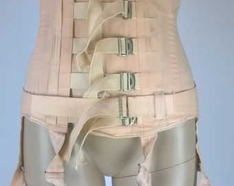 Vintage 1950s Boned Underbust Peach Corset 50s Surgical Corset Spencer Ltd Open Bottom Girdle with Four Garters  Six Straps Shapewear Small