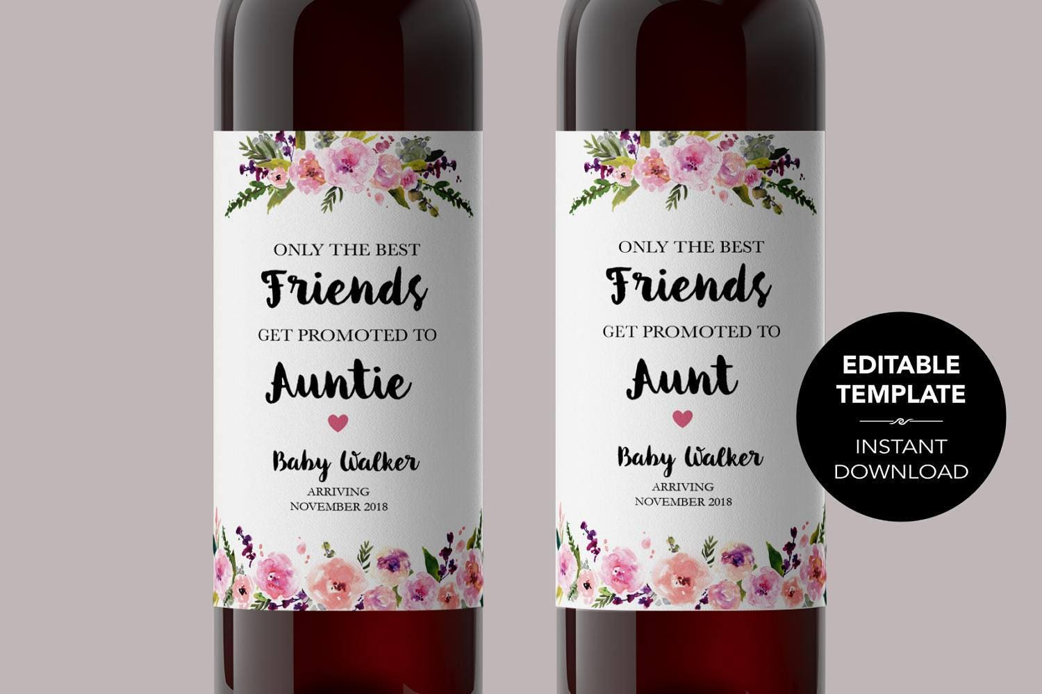 EDITABLE Pregnancy Announcement Wine Label TEMPLATE Edit Wine