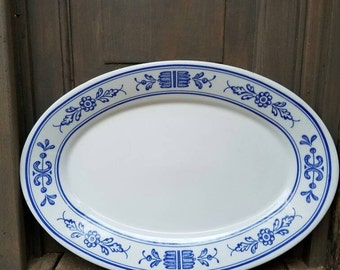 Vintage Platter- Homer Laughlin Better China - 1980's- White/Blue Floral Design Trim- Plate, Dish- Home Decor/Decoration, Dining and Serving