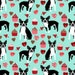 Boston Terrier Valentine's Day Quilting Fabric. Fabric by the Yard Cotton Knit Jersey Minky. Dog Dogs Animal Pets Baby Kids Mint Candy Red