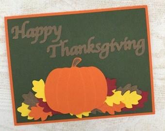Thanksgiving Pumpkin Card - fall card - pumpkin card - November card - handmade card - thank you card - traditional card - Thanksgiving