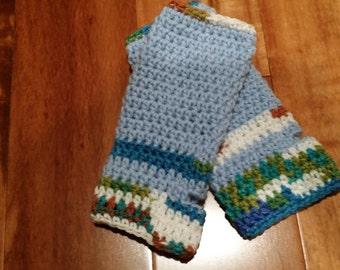 SALE***Crochet wrists warmer ( Blue)