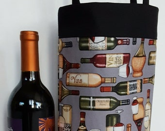 Wine tote bag, wine caddy, lined gift bag, reusable wine bag, housewarming gift, barware, gift for him, wine lover gift, hostess gift