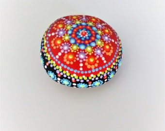 Ulverstone - hand-painted rock, for giving and for getting, bright colours, red