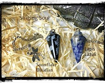Lapis Lazuli, Snowflake Obsidian, Pendulum, healing crystals, healing stones, meditation, zen, Dowsing, scrying, Reiki healing, spiritual