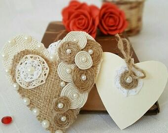 Heart Ornament Rustic Wedding Decor Valentine's gift Eco friendly Burlap Heart