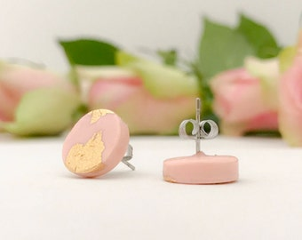 Blush pink and gold circle stud earrings, polymer clay studs