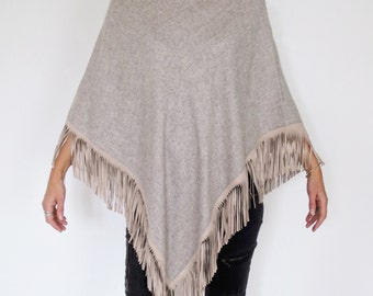 Wool and leather poncho