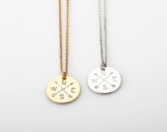 Gold Compass Necklace, Dainty Disc Compass Necklace, Silver Pendant Necklace, Rose Gold Charm, Disk, Gift for woman, Minimalist