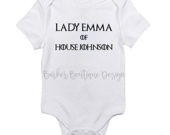 Lady or Lord of House Personalized Baby Bodysuit  - Game of Thrones