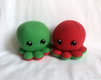 Red and Green Octopus Larry Plush