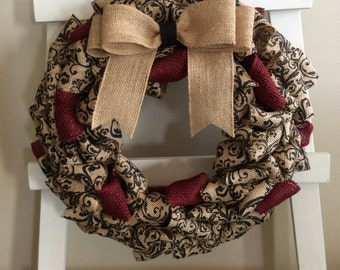 Every Day Wreath, Fall Wreath, Winter Wreath, Front Door Wreath, Burlap Wreath, Traditional Wreath, Burgundy Wreath