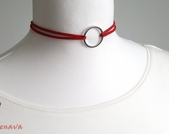 Choker chain red silver ring necklace vintage