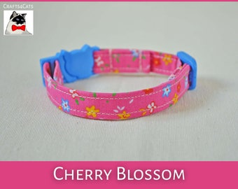 Fancy cat collar 'Cherry Blossoms' - Pretty collar for cat and kitten - Breakaway Cat Collar - Cute cat collar Japanese style