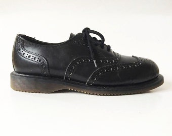 Men's Black Leather Brogue Shoes Black Genuine Leather Casual Wingtip Oxford Shoes Men's Progressive Safety Work Shoes Size EUR 43 UK 9