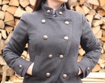 womens jacket Vintage Wool coat Vintage Military Clothing military jacket Winter Jacket womens military coat Military fashion Militaria