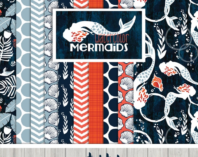 Featured listing image: Watercolor Mermaids Digital Paper Collection   {  Set of 10  }   in Navy, Sky Blue and Coral