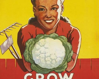 Vintage Dig For Victory Grow Your Own Vegetables Wartime  Poster A3 Print