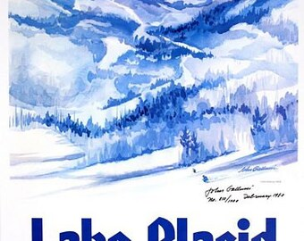 Vintage 1980 Lake Placid Winter Olympics Poster A3 Print