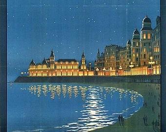 Vintage Belgian Railways Ostende Tourism Poster A3 Print